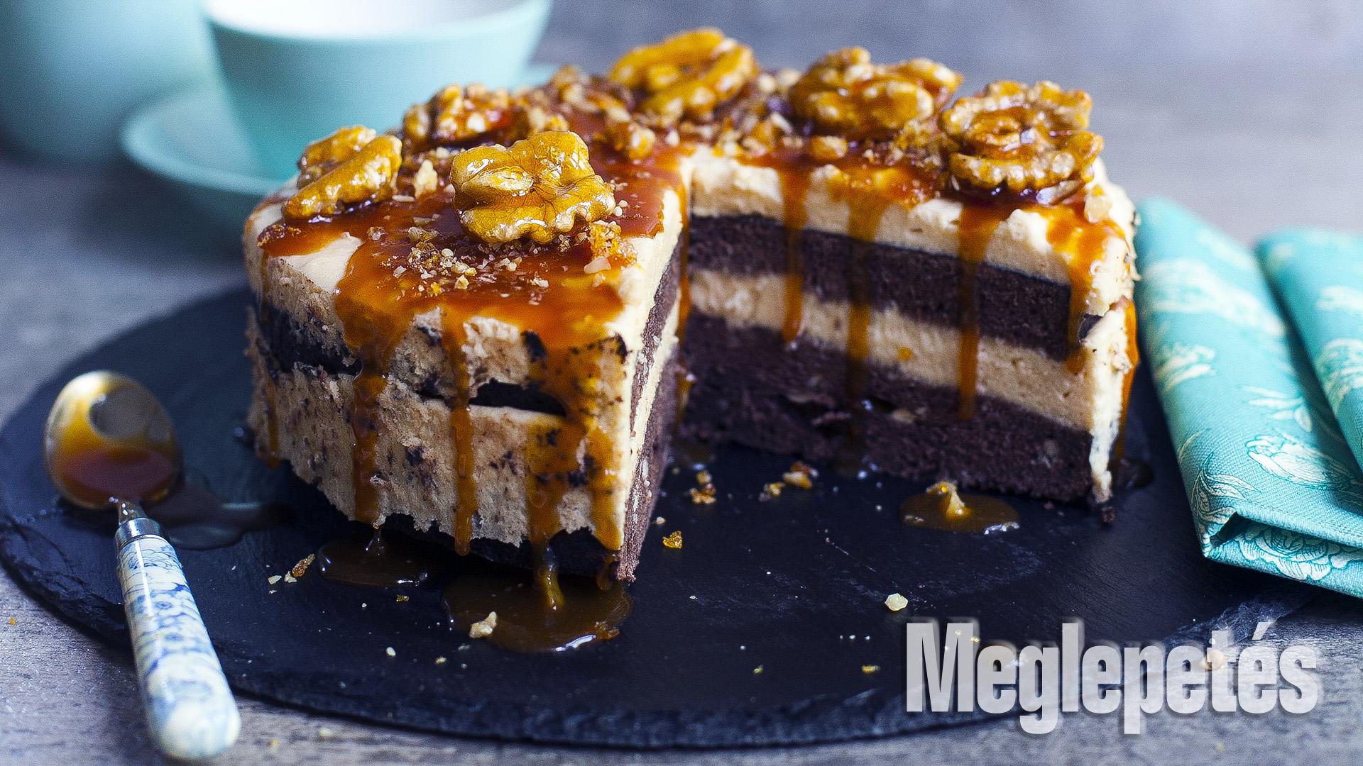 csokoládé dióbél étcsokoládé kakaópor karamella piskóta receptek sós karamelles csokoládétorta vrábel kriszta