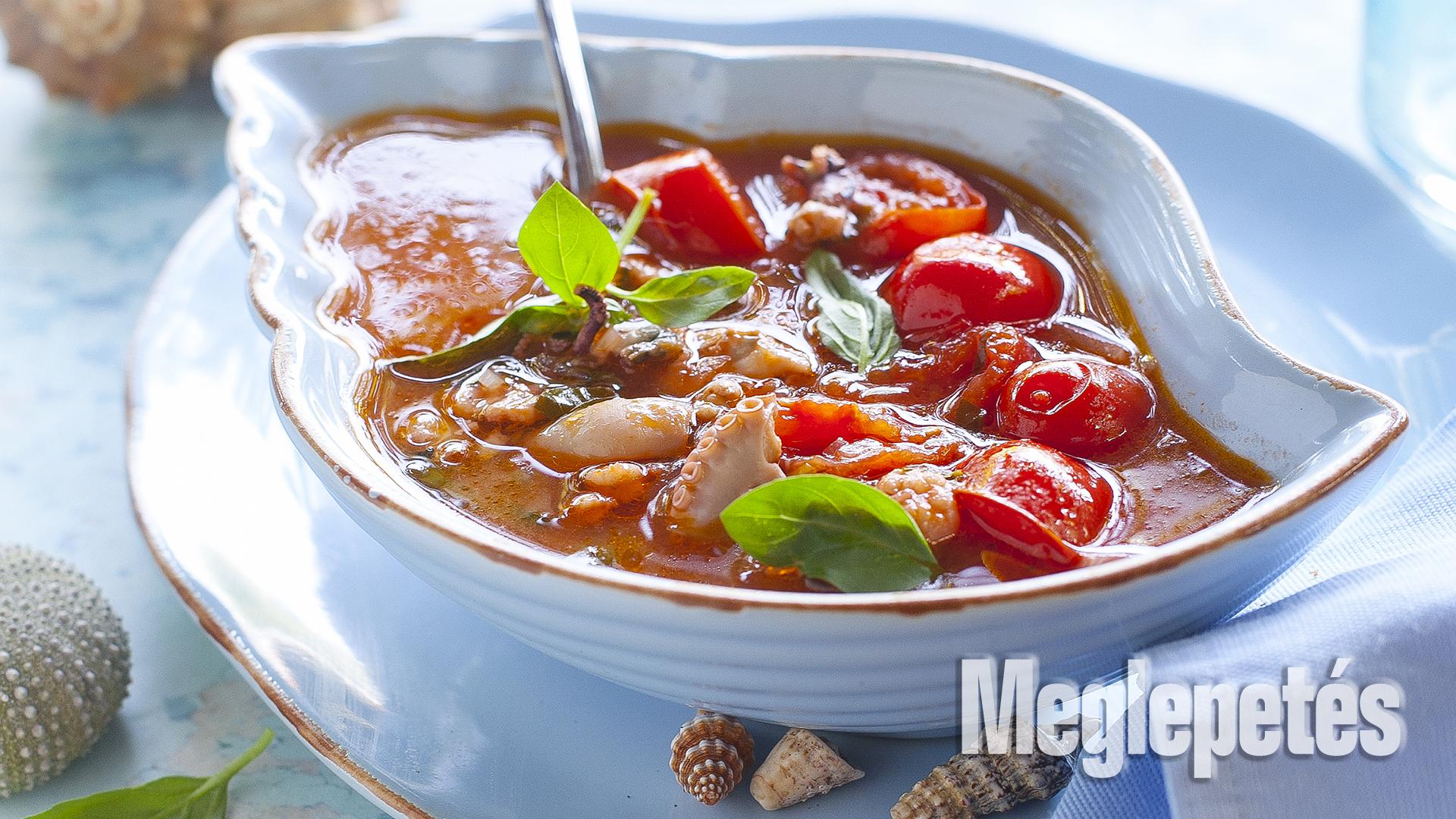 bazsalikom fokhagyma halászlé leves recept olivaolaj paradicsom petrezselyem receptek tenger gyümölcsei tengeri halleves vrábel kriszta