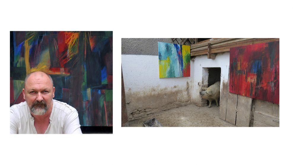állatok festmények istálló installáció kiállítás libák malacok marhák nyári művésztáborok rónai gábor somogy szürkemarhák tyúkok